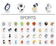 Icônes isométriques de sport et de forme physique vecteur 3d Photos libres de droits
