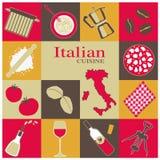 Icônes italiennes de cuisine réglées Images stock