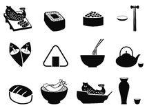 Icônes japonaises de nourriture réglées Photo libre de droits