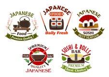 Icônes japonaises de restaurant et de sushi de cuisine Photographie stock libre de droits