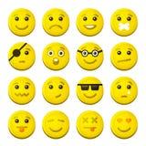 Icônes jaunes d'émotion de sourire réglées Vecteur illustration stock