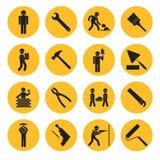 Icônes jaunes de construction et de bâtiment de cercle illustration stock