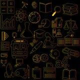 Icônes jaunes et oranges d'éducation de couleur Image libre de droits