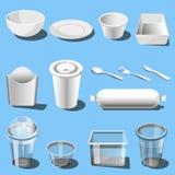 Icônes jetables de vecteur de vaisselle de dishware en plastique Photos stock