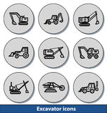 Icônes légères d'excavatrice Image libre de droits