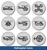 Icônes légères d'hélicoptère Image stock