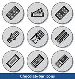 Icônes légères de barre de chocolat Image libre de droits