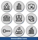 Icônes légères de biens immeubles Images libres de droits