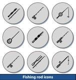 Icônes légères de canne à pêche Images libres de droits