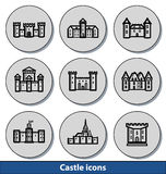 Icônes légères de château Photos libres de droits