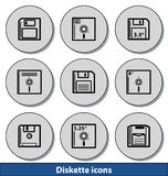 Icônes légères de disquette Image libre de droits