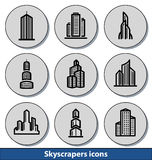 Icônes légères de gratte-ciel Photos stock