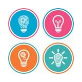 Icônes légères de lampe Symboles économiseurs d'énergie Photo stock