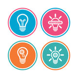 Icônes légères de lampe Symboles économiseurs d'énergie Photographie stock