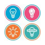 Icônes légères de lampe Symboles économiseurs d'énergie Image stock