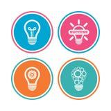 Icônes légères de lampe Symboles économiseurs d'énergie Photos stock