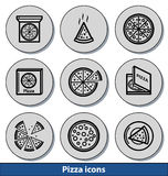 Icônes légères de pizza Images libres de droits
