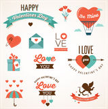 Icônes, lettrage et éléments de Saint-Valentin Photographie stock libre de droits