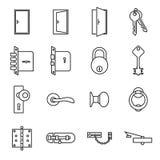 Icônes liées aux portes et aux serrures Illustration Stock