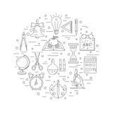 Icônes linéaires d'école disposées en cercle Image stock