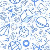 Icônes linéaires d'éducation de modèle bleues Images stock