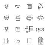 Icônes linéaires d'utilités d'isolement sur un fond blanc Illustration Stock