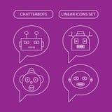 Icônes linéaires de Chatterbots réglées illustration de vecteur