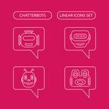 Icônes linéaires de Chatterbots réglées Photo libre de droits