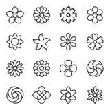 Icônes linéaires de fleur d'isolement sur un fond blanc Illustration Libre de Droits