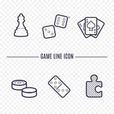 Icônes linéaires de jeux Photos stock