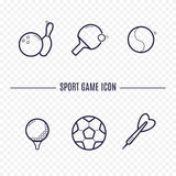 Icônes linéaires de jeux Images stock