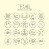 Icônes linéaires de voyage illustration stock