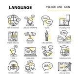 Icônes linéaires modernes réglées sur le sujet d'apprendre une langue étrangère illustration de vecteur