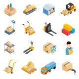 Icônes logistiques de stockage d'entrepôt réglées