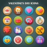 Icônes lumineuses rondes avec la longue ombre : Jour de valentines illustration libre de droits
