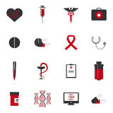 Icônes médicales avec le fond blanc et rouge Image stock