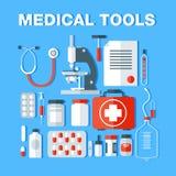 Icônes médicales d'outils réglées Substance de soins de santé illustration de vecteur