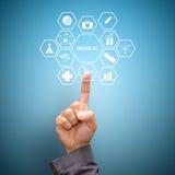 Icônes médicales de contact futé de main Photo libre de droits