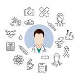 Icônes médicales de docteur Image libre de droits