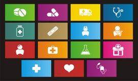 Icônes médicales de style de métro Images libres de droits