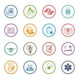 Icônes médicales et de soins de santé réglées Conception plate Photos libres de droits