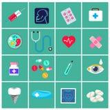 Icônes médicales plates à la mode Éléments de vecteur Dirigez l'ensemble de graphismes médicaux Photos stock