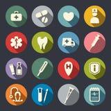 Icônes médicales plates Images libres de droits