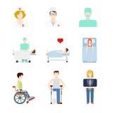 Icônes médicales plates de Web de vecteur : infirmière de Doc. de rayon X de patient hospitalisé illustration stock