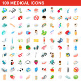 100 icônes médicales réglées, style 3d isométrique Photographie stock