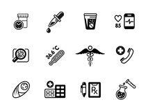 Icônes médicales, vecteur sur le blanc illustration de vecteur