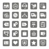 Icônes, magasin en ligne, achats, expédition, paiement, fond gris illustration libre de droits