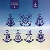 Icônes maritimes réglées Photo libre de droits