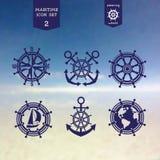 Icônes maritimes réglées Photos libres de droits