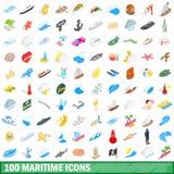 100 icônes maritimes réglées, style 3d isométrique illustration de vecteur